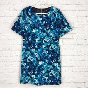 NWT Ellen Tracy 10 Blue Floral Short Sleeve Dress